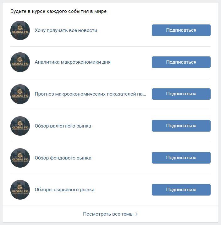 Группа Глобал FX Вконтакте даёт возможность подписаться на бесплатную аналитику.
